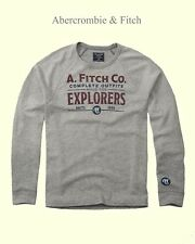 Abercrombie & Fitch T-Shirt Men's Long Sleeve Logo Graphic Tee Top XL Grey NWT