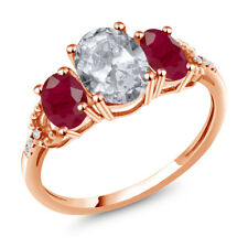 2.54 Ct Oval White Topaz Red Ruby 10K Rose Gold Diamond Accent Ring