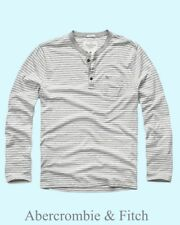 Abercrombie & Fitch T-Shirt Men's L/S Henley Icon Tee Top XL Grey Stripe NWT