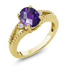 1.55 Ct Checkerboard Purple Amethyst & Topaz 18K Yellow Gold Plated Silver Ring