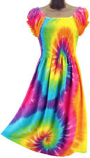 Rainbow Tie Dye Dress Multi Color Summer Sundress Cap Sleeve NEW Womens S M L