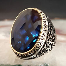 STERLING 925 SILVER HANDMADE MENS JEWELRY BLUE SAPPHIRE  GEMSTONE MEN'S RING