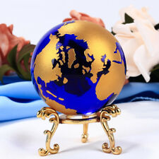 60mm Blue Colored Earth Crystal Model Ball Glass Globe With a Base Crafts
