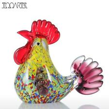 Tooarts Multicolor Rooster Figurine Glass Miniature Figurine Home Decor Animal