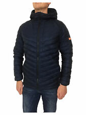 Superdry Micro Quilt Down Hooded Jacket in Navy Blue Size Small