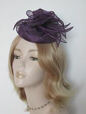 FAILSWORTH PANSY PURPLE SINAMAY PILLBOX  HATS, With quills,Brand new