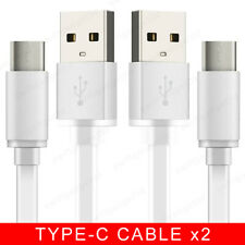 3-Pack Flat USB-C 3.1 Fast Charging Type-C to USB Charger Data Cable Lead White
