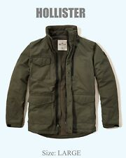 Abercrombie & Fitch Hollister Men's Warm Fleece Lined Puffer Jacket L Olive NWT