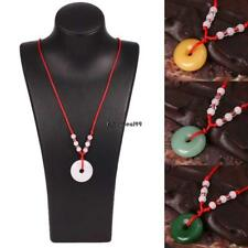 Women Artificial Jade Round Pendant Red Rope Necklace Fashion Jewelry OO55