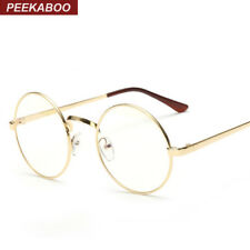 Peekaboo Cheap small round nerd glasses clear lens unisex gold round metal