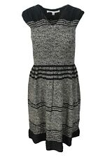 Max Studio Black Grey Floral Print Smocked Stretch Fit And Flare Dress $118 NWT