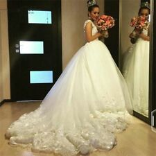 Luxury White/Ivory Wedding Dress Ball Gown Lace Bride Bridal Gowns Custom CR0806