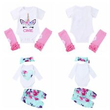 Newborn Infant Baby Girls Floral Printed Outfit Romper+Pants +Headband Cloth Set