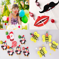 50 x Lips Mustache Butterfly Printed Lollipop Paper Decorative Card Candy Stick