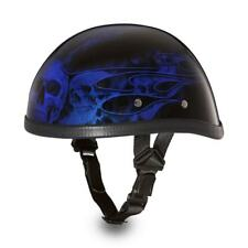 Daytona Skull Cap EAGLE-W/ FLAMES BLUE Chopper Bike Motorcycle Helmet