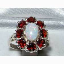 Luxury Ladies Solid 925 Sterling Silver Natural Opal & Garnet Large Cluster Ring