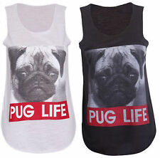 New Womens Ladies Graphic Print Cotton Pug Life T-Shirt Vest Top 8-14