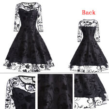Women Gothic Lolita Lace Long Sleeve Princess Dress Swing Fancy Cosplay Custome