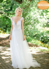 Ivory  V Neckline Lace Straps Sleeveless Dress Long Train Wedding  Dress