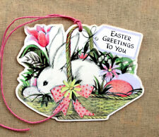 Hang Tags RETRO BUNNY & EGGS IN BASKET EASTER GREETINGS TAGS #146 Gift Tags