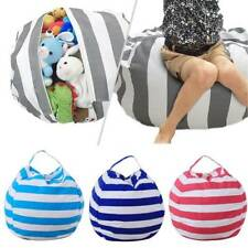 Large Capacity Thickened Stuffed Plush Toy Storage Bean Bag Stripe Fabric