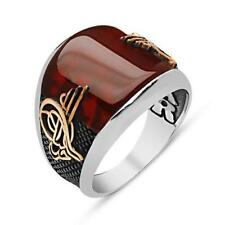 STERLING 925 SILVER HANDMADE JEWELRY RED RUBY MENS RING