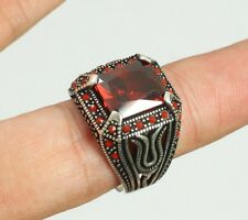 STERLING 925 SILVER HANDMADE MENS JEWELRY MADAGASCAR RED RUBY MEN'S RING