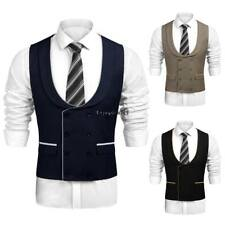 Men Casual Double-Breasted Waistcoat Business Suit Vest OO55