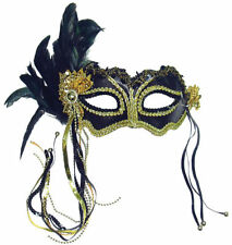 METALLIC BLACK FEATHER MASK + HEADBAND, MASQUERADE EYE MASK FANCY DRESS,CATWOMAN
