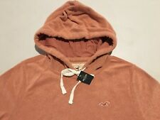 Abercrombie & Fitch Hollister Hoodie Men's Fleece Hooded Sweatshirt S Orange NWT