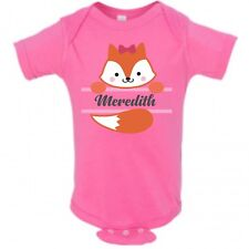 Baby Fox Face Girl Name Infant Bodysuit or T-shirt ~ Personalized