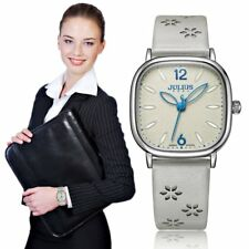 Flower Petal Embossed Women Lady Leather Quartz Wrist Watch Big Dial Watch PN