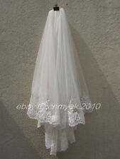 2 Tier Lace Bridal Veil Elbow Length Wedding Veil with Comb In White Ivory