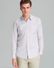 New Theory Zach PS Banar Multi Stripe Button Down Shirt Sz M XXL $225