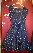 Anchor Sailor Nautical Dress Petticoat Blue White 50er Rockabilly Old School
