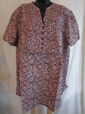 Plus Size 3X to 4X  Top PLEATED Blouse 100% COTTON Shirt LIGHTWEIGHT Cruise NWT