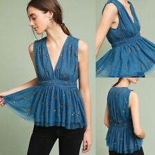 Anthropologie Vedette Blouse by Chan Luu Blue Embellished XS S M NWT Retail $198