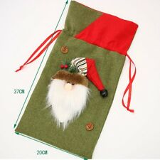 Christmas Gift Candy Bag Pouch Xmas Santa Elk Deer Pattern Party Festival