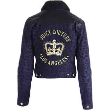 NWT JUICY COUTURE Navy Black Bomber Print Faux Fur Lined Denim Moto Jacket $358