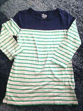 Old Navy Long Sleeves Girls T-Shirt Green Strip 100% Cotton Made In Cambodia