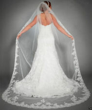 White Ivory Cathedral Length Lace Edge Bride Wedding Bridal Long Veil + Comb CR
