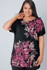 YOURS Floral Print Top With Stud Detail Size 18-28 Uk BNWT £23.98 Black/Pink