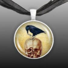 """Black Raven or Crow Perched on Red Skull 1"""" Pendant Necklace in Silver Tone"""