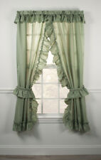 Stacey Solid Color One Rod Criss Cross Ruffled Priscilla Curtains with Tie Backs