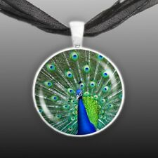 "Green & Cobalt Blue Peacock Displaying Feathers 1"" Pendant Necklace Silver Tone"