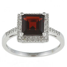 10k White Gold Princess-Cut Garnet and Diamond Halo Engagement Ring