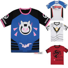 Overwatch OW D.Va DVA Mercy Reaper Short Sleeve T-shirt Cosplay Shirt TEE Tops