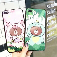 Cute Cartoon Brown Bear Silicone TPU Case Cover Back For iPhone X 8 7 6/6s Plus