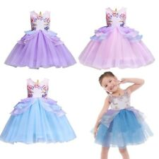 Girls Unicorn Pearls Tutu Flower Dress Party Pageant Princess Cosplay Costume