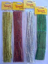 20 x 6mm Glitter Chenille Pipe Cleaners 30cm Craft Tinsel Gold Red Silver Green